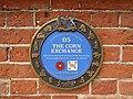 -2019-07-08 Fakenham Lancaster Heritage Trail blue plaque, Corn Exchange, Fakenham.JPG