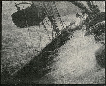 Malcolm Arbuthnot: Old photograph, taken from the bridge of a sailing ship, heeling considerably, dated 1908