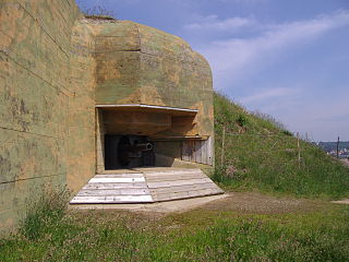 a bunker on Guernsey, an island in the English Channel, constructed by Nazi Germany during World War II