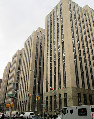 Judiciary of New York (state) - A New York City Criminal Courts building, connected to the Tombs
