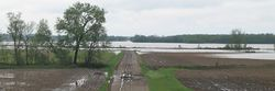 Flooding on the 102 River at Maryville, Missouri.  The river is normally about the size of a creek and is on the extreme right of the photo