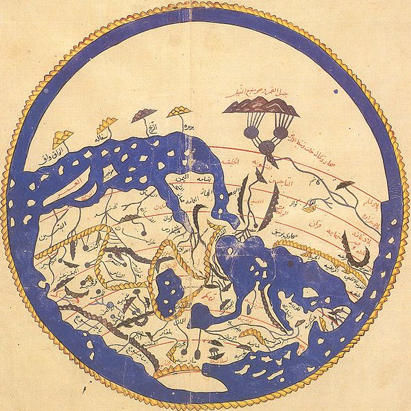 Archivo:1154 world map by Moroccan cartographer al-Idrisi for king Roger of Sicily.jpg