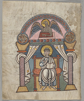 Hanging bowl - Evangelist portrait of Saint John from the 8th century Anglo-Saxon Stockholm Codex Aureus; the roundels above the columns appear to copy hanging bowl escutcheons.