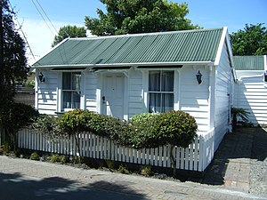 Sydenham, New Zealand - This historic cottage is typical of settler housing in Sydenham Christchurch. It was built in 1876 from totara.