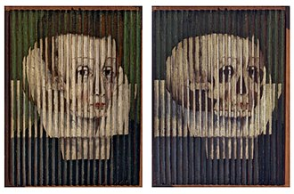 Tabula scalata - two views of a tabula scalata oil painting from 1580 in the Scottish National Portrait Gallery