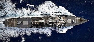 USS Oscar Austin - Oscar Austin seen from above in 2017