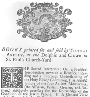 Thomas Astley - Advert for Thomas Astley at the Dolphin and Crown in St. Paul's Church-Yard, London, 1727