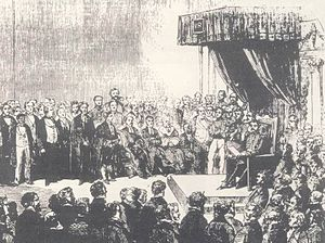Cape Qualified Franchise - Engraving of the first opening of the Cape Parliament in 1854. The new constitution barred discrimination on the basis of race or colour and, in principle at least, the Parliament and other government institutions at the time were explicitly colour-blind.