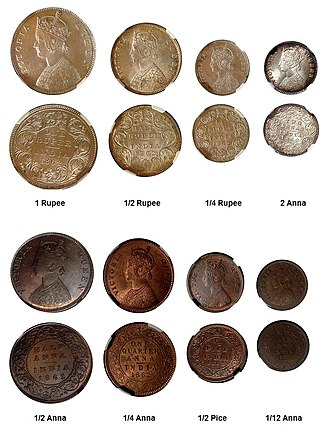 Coins of British India - Type-set of Queen Victoria coins, silver and copper, all dated 1862. The one rupee coin, struck at the Bombay mint, has 2 dots below the top flower and 0 dots above the bottom flower (2/0).