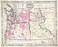 1864 Johnson Map of Washington, Oregon ^ Idaho ( Wyoming ^ Montana ) - Geographicus - WAOR-j-64.jpg