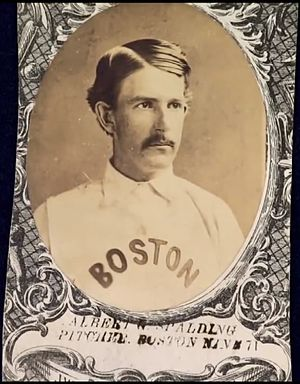 Albert Spalding - Albert Spalding on a 1871 Boston Red Stockings baseball card.