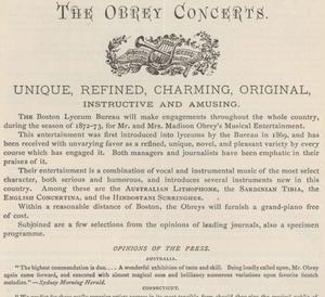 Boston Lyceum Bureau - Image: 1873 Madison Obrey Boston Lyceum Bureau detail