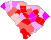 Red counties were won by Chamberlain and magenta counties were won by Green