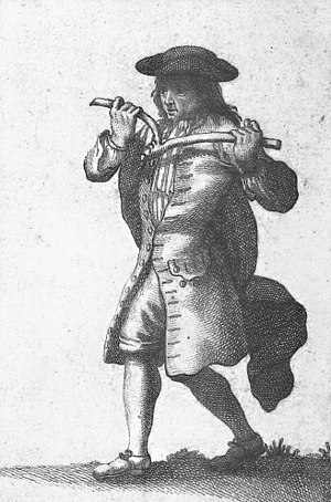 Dowsing - A dowser, from an 18th-century French book about superstitions