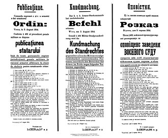 Kassian Bogatyrets - Tri-lingual proclamation by Governor Meran, announcing the introduction of summary executions for crimes of treason and sedition (August 3, 1914)