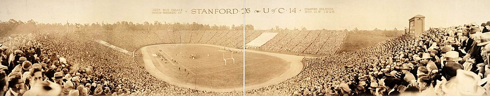 View of the Stanford Stadium during the Big Game of November 21, 1925. Stanford won 26–14