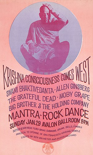 The Mantra-Rock poster showing an Indian swami sitting cross-legged in the top half with circular patterns around and with information about the concert in the bottom half