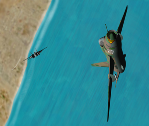 Gulf of Sidra incident (1981) - Image: 1981 Gulf of Sidra incident. F 14 Fast Eagle 107, from VF 41 about to shoot down a Libyan Su 22 with an AIM 9 Sidewinde