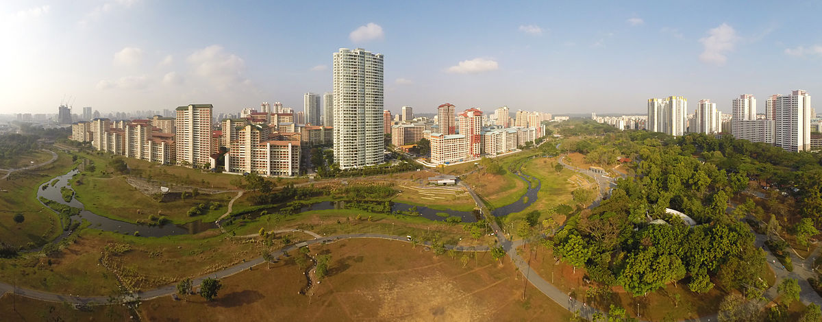 Bishan, one of Singapore's towns is the 38th biggest in terms of geographical size and the 21st most populated planning area in the country. 1 2014 panorama bishan park aerial gopro dji phantom.jpg