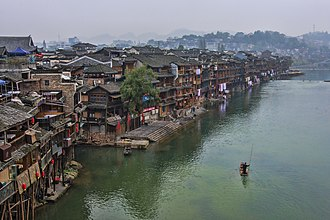 Fenghuang County - View of Fenghuang Ancient Town from the Red Bridge