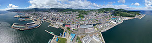Otaru - Aerial panoramic view of the town from above the sea