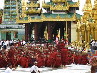 Saffron Revolution - Protesting monks gathering at the Shwedagon Pagoda in Yangon