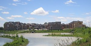 Whitchurch-Stouffville - New construction in urban Stouffville, 2010 (Mantle Ave. and York-Durham Line, looking west to Greenbury Ct)