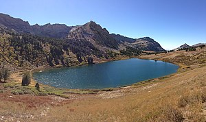 Favre Lake (Nevada) - Image: 2013 09 18 14 32 43 Panorama west southwest towards Favre Lake from the Favre Lake Trail in Kleckner Canyon, Nevada