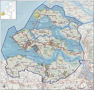 Zeeland - A map of Zeeland.