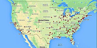 Mass shootings in the United States - Locations of US mass shootings in 2015, according to Shooting Tracker.