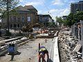 2016-05-25, Gleiserneuerung in der Bertoldstraße in Freiburg, Gleiskreuzung und Abzweig der Rottecklinie.jpg