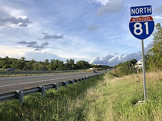 Woodstock, Virginia - View north along I-81, the largest and busiest highway in Woodstock