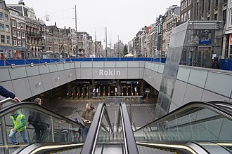 Rokin - Entrance to Rokin metro station.
