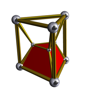Uniform 4-polytope - The simplest of the duoprisms, the 3,3-duoprism, in Schlegel diagram, one of 6 triangular prism cells shown.