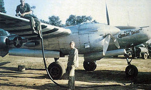 """Beuzeville Airfield - 367th Fighter Group - 394th FS P-38 Lightning """"Dotties Great Lady"""" at Beuzeville Airfield (A-6), France"""
