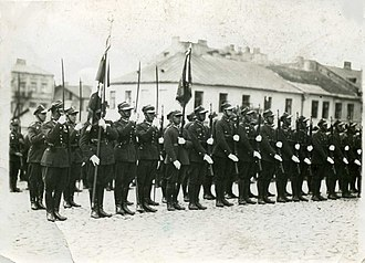 Kutno - Honourable Campaign of the 37th Infantry Regiment with banner (Królewska st ?) – 1933