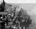 40mm gun mounts firing aboard USS Saipan (CVL-48), circa in 1947.jpg