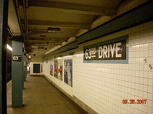 63rd Drive–Rego Park (IND Queens Boulevard Line) - A platform at 63rd Drive.