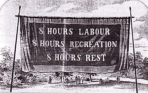Eight-hour day - Eight-hour day banner, Melbourne, 1856