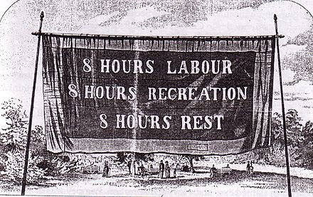 Eight-hour day banner, Melbourne, 1856 8hoursday banner 1856.jpg