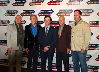 Shuler Hensley - Hensley (right), at a September 24, 2013 press junket at Sardi's restaurant for Waiting for Godot and No Man's Land. Beside him from left to right, are director Sean Mathias and actors Ian McKellen, Billy Crudup and Patrick Stewart.