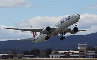 Canberra Airport - A Qatar Airways Boeing 777 taking off from Canberra Airport in 2018