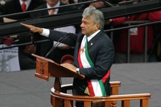 "Andrés Manuel López Obrador - López Obrador being proclaimed ""Legitimate President of Mexico"" by his supporters in November 2006"