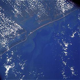 Вид на залив Матагорда из космоса