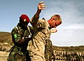 A Guinean soldier searches U.S. Marine Corps Sgt. Anthony Raymond, assigned to the 3rd Battalion, 25th Marine Regiment, as part of an entry control point demonstration July 13, 2012, during exercise Western 120713-M-XI134-0662.jpg