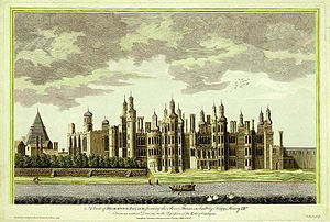 "Richmond Palace - Richmond Palace from SW. 1765 engraving by James Basire, ""based on an ancient drawing"". Essentially as built by Henry VII in 1501. The outbuilding with pointed roof to the rear left (north) is the Great Kitchen. The chapel-like building adjoining the palace at the north (left) is the Great Hall"