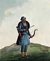 A man carrying a bow and arrow and a shield. Wellcome V0045500.jpg