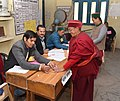 A polling official administering indelible ink to a voter at a polling booth, during the Himachal Pradesh Assembly Election, in Khwangi village, dist. Kinnaur, Himachal Pradesh on November 09, 2017.jpg