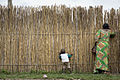 A woman and her child look through a bamboo fence.jpg