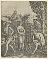 A young man sitting at right resting his head in his hand, a snake with a womans head before him, a young woman holding a pan pipes standing in the centre and a young man leaving at left MET DP854411.jpg